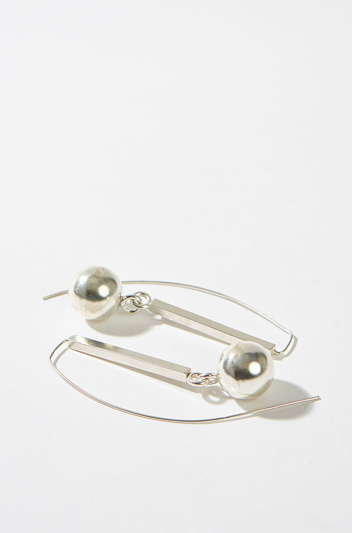 Sterling Silver Ball Drop Earnings, Gala Colivet-Dennison - SWIM XYZ