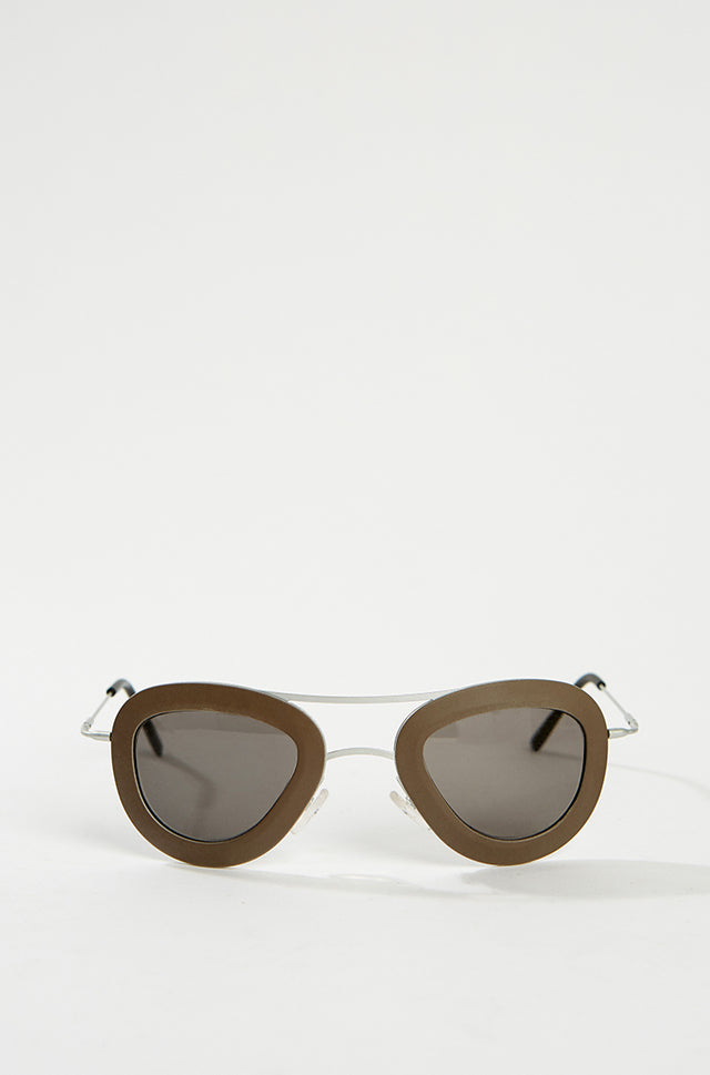 Aviator Sunglasses - Brown/Silver, HAAL - SWIM XYZ