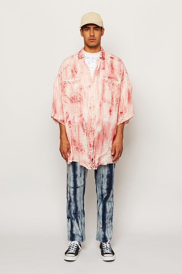 HAND-PAINTED FLOATING LINEN OVERSIZED SHIRT, Ka wa key - SWIM XYZ