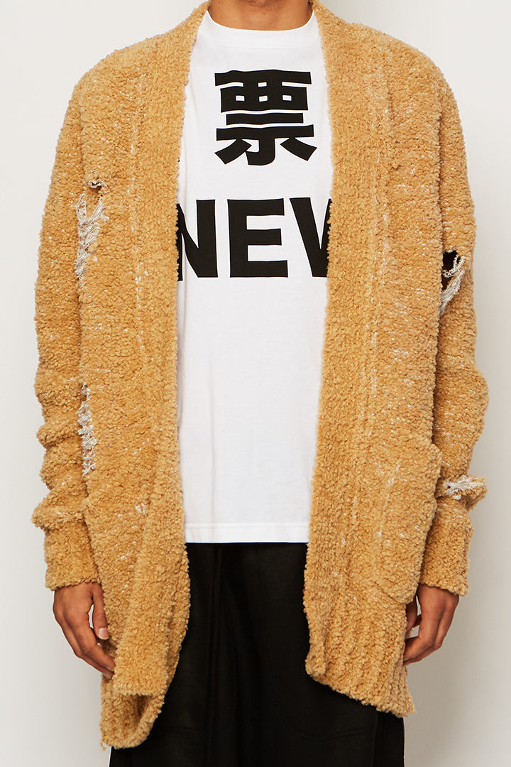 Distressed Knitted Shearling Cardigan, Ka wa key - SWIM XYZ