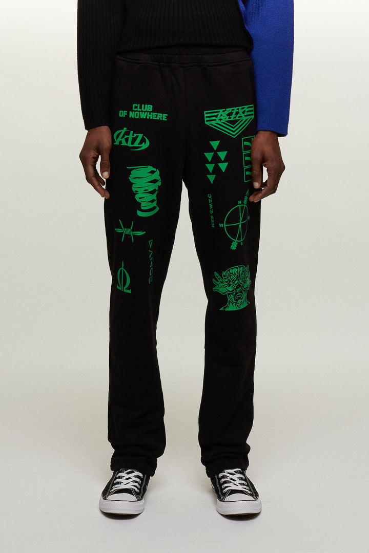 Multiple Letter Patch Long Jogging Trousers - Black / Green, KTZ - SWIM XYZ