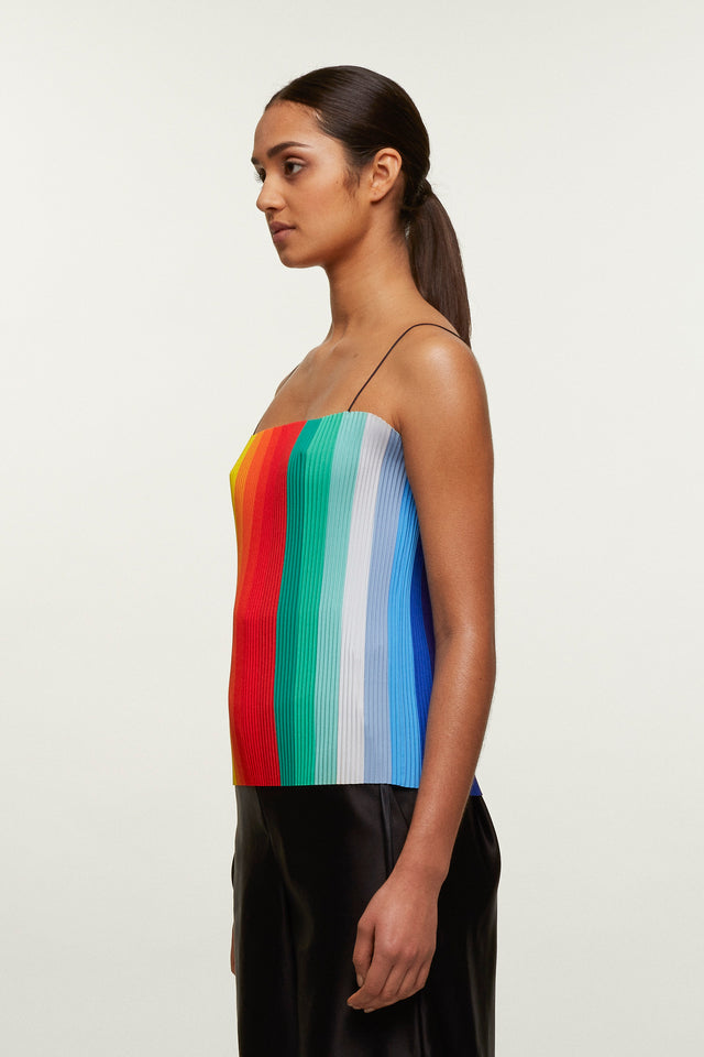 Rainbow Print Pleated Singlet, Kitty Joseph - SWIM XYZ