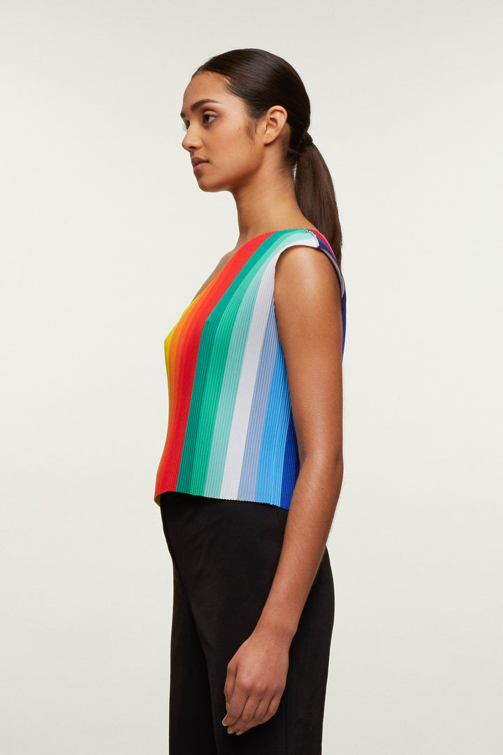 Rainbow Print Pleated Cross Body Vest