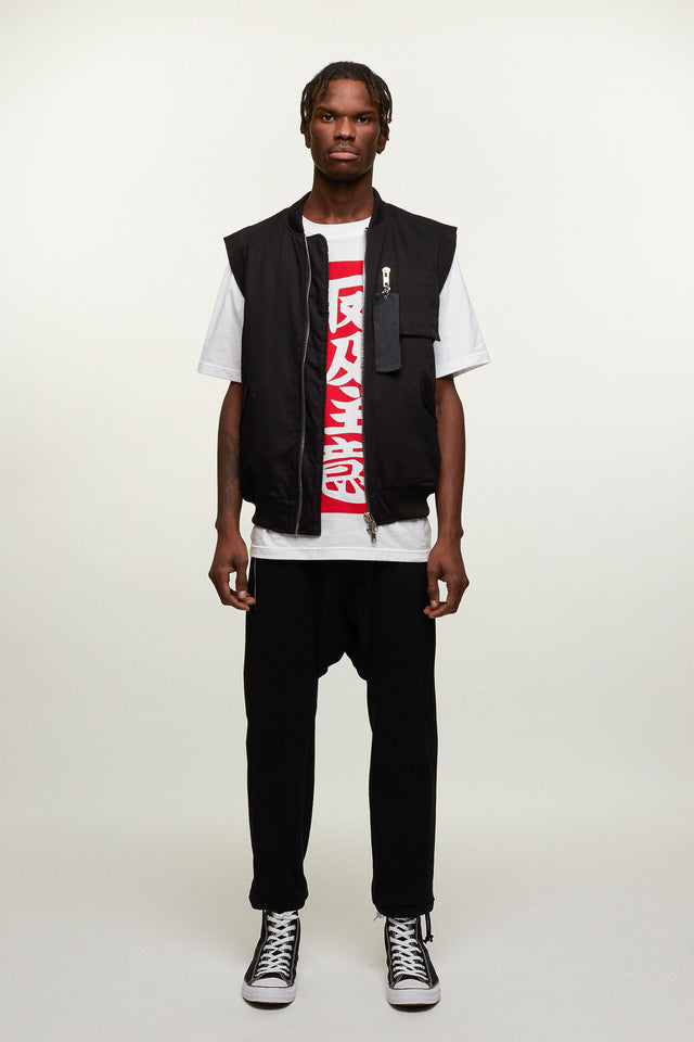 Sleeveless Bomber With Graphic Patch