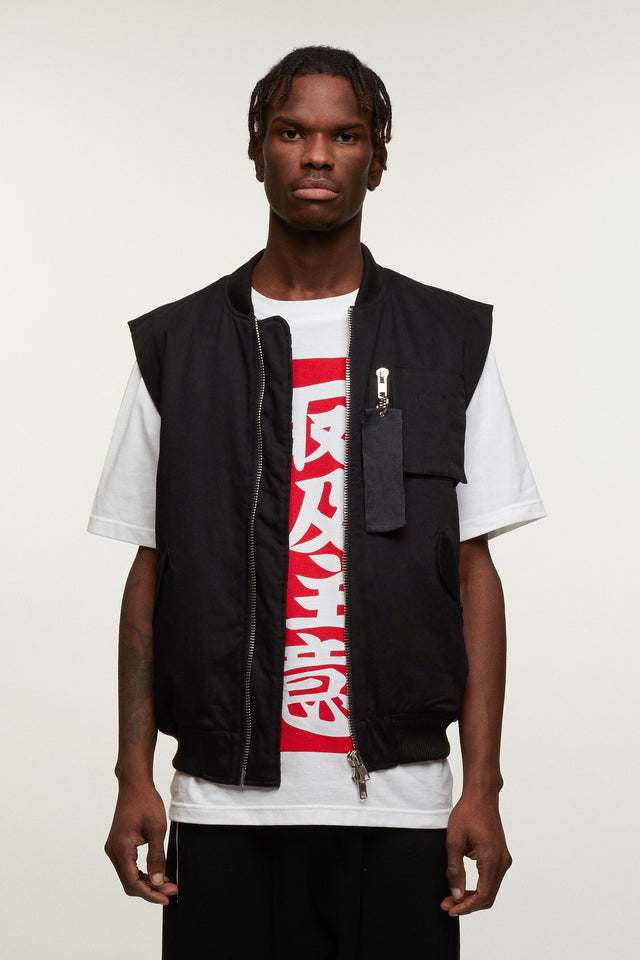 Sleeveless Bomber With Graphic Patch, Liam Hodges - SWIM XYZ