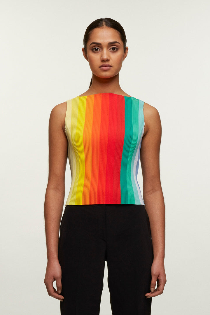 Rainbow Print Pleated Vest