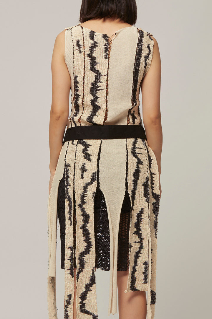 Knitted Silk and Raffia Panel Dress