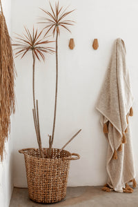 Natural Freya With Brown Tassels Throw