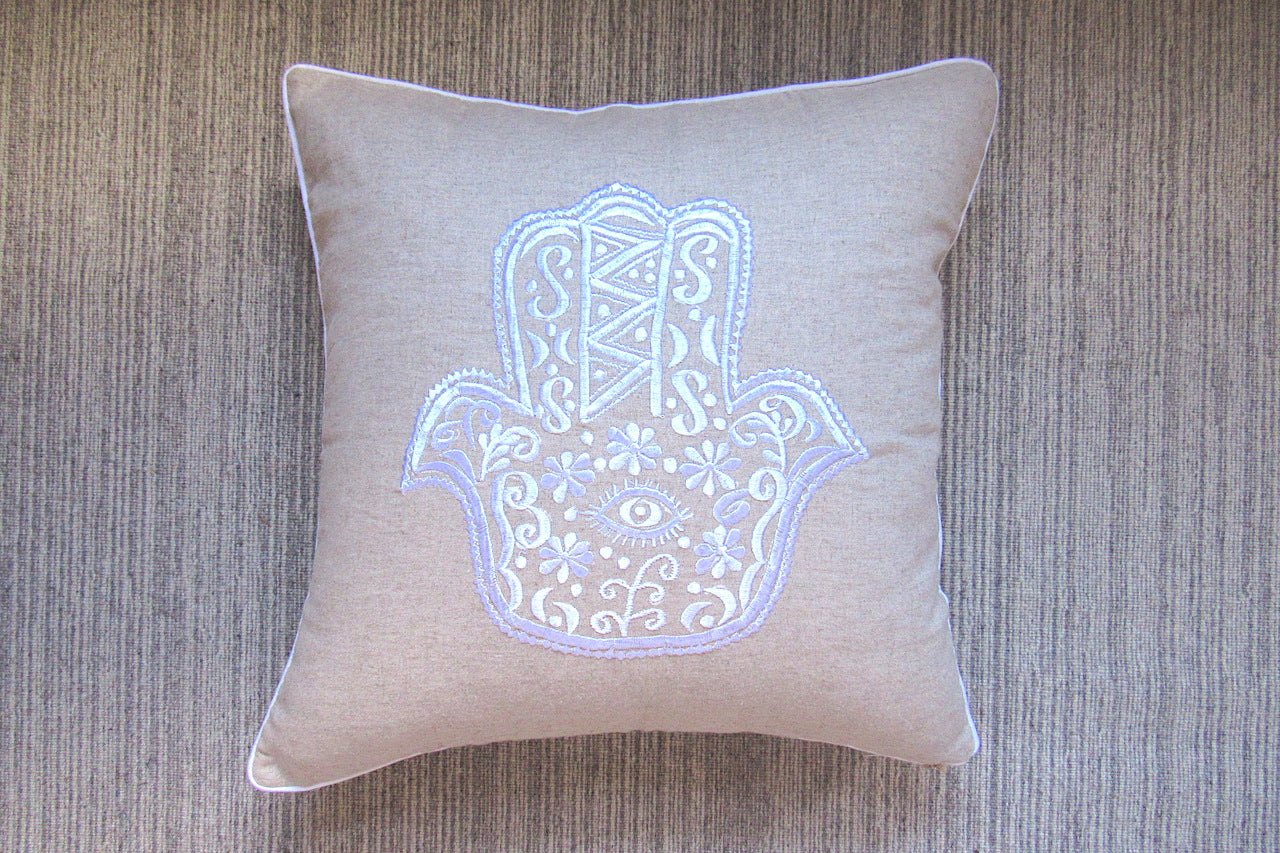 Embroidered Hamsa Cushion Cover