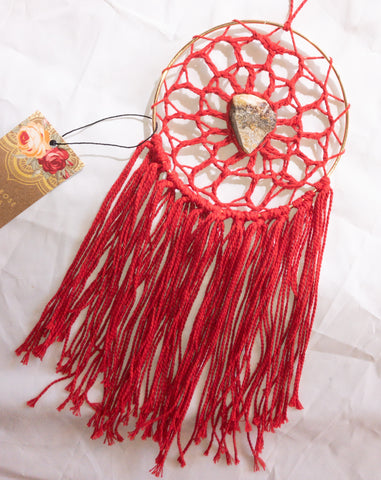 "6"" Red Dreamcatcher w/ Desert Jasper"