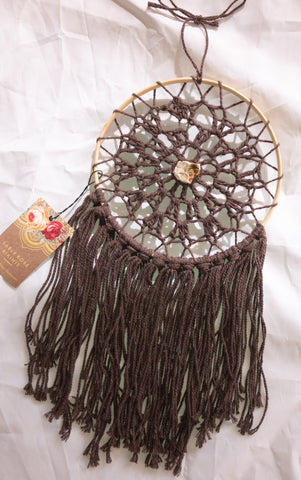 "8"" Brown DreamCatcher w/ Petrified Wood"