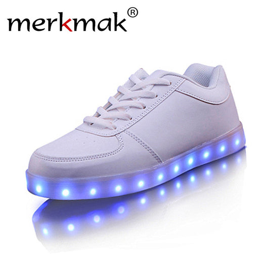 Merkmak 7 Colors Glowing LED Shoes Multicolor Luminous Shoe Rechargeable Light LED Shoes Fashion Gold Silver Basket Flats Couple
