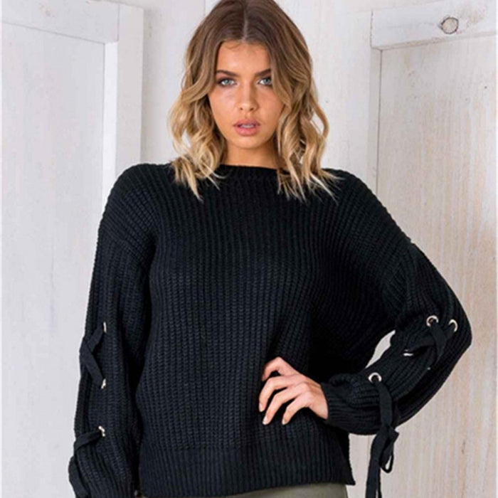 2017 woman new Europe and the United States style solid color O-Neck hollow knit sleeves loose sweater pullovers