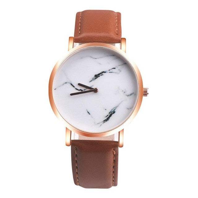 GENVIVIA New Women Marble Surface Stainless Steel Band Leather Movement Wrist Watch