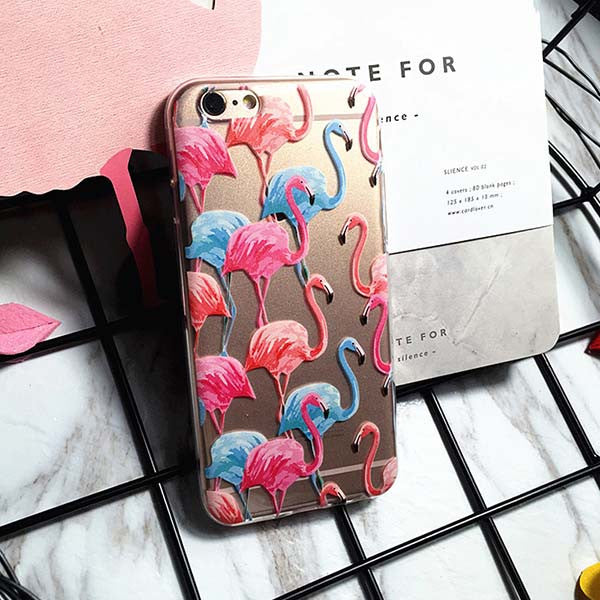 Flamingo Case For iphone 7 6 6s Plus SE 5 5s Cover Cute Animals Birds Pattern Phone Cases Hard Plastic Transparent Fundas Shell