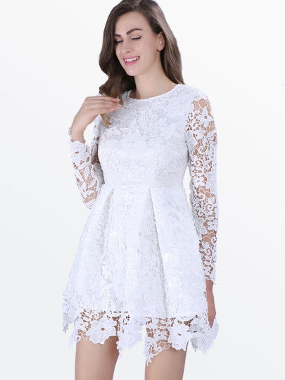 White Long Sleeve Women's Lace Flare Dress