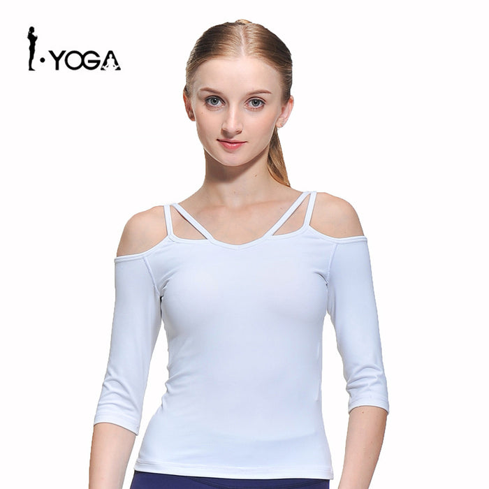 Women Half Sleeve Sport T-shirt  Fitness Yoga Tights Tank Cropped Top Gym Sportswear Clothing Blouse Running Singlet CXT009