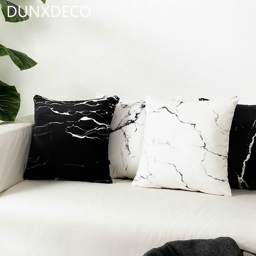 DUNXDECO Cushion Cover Decorative Pillow Case Soft Velvet White Black Marbling Print Modern Home Office Sofa Decor