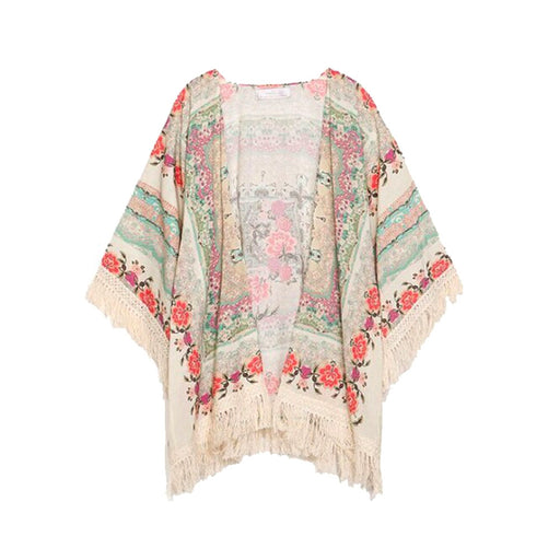 Fashion Spring Autumn Women's Girls Floral Printing Long Loose Knitted Cardigan Shawl Cape Sweater Coat