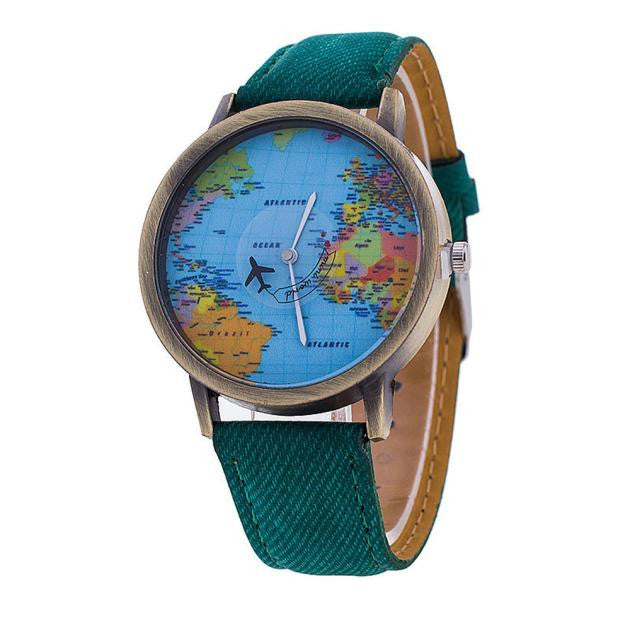 Men Women Watch World Map Design Analog Quartz Watch