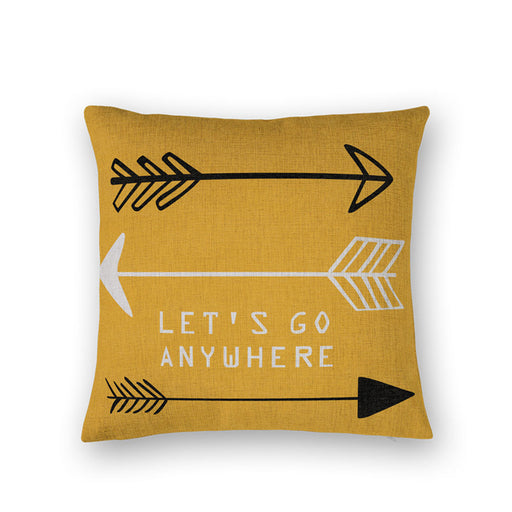 LET'S GO ANYWHERE Cotton Linen Pillow Cover Decorative Throw Pillows Home Decor Almofadas Sofa Text Arrow Cushion Cover CONJIES