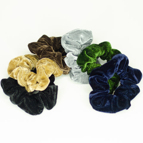 009 Neutral Velvet Scrunchies bulk set of 6