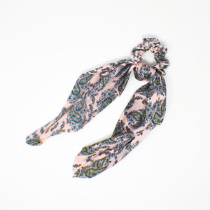 055 Pink Paisley Satin Hair Scarf, Set of 2