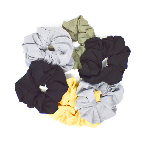 064 Solid Scrunchies - Set of 6