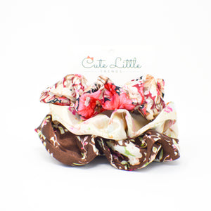 058 Pink and Brown Satin Floral scrunchies set of 3