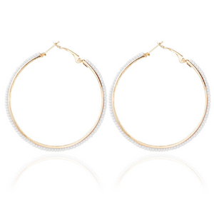 615 White Beaded Hoop Earrings
