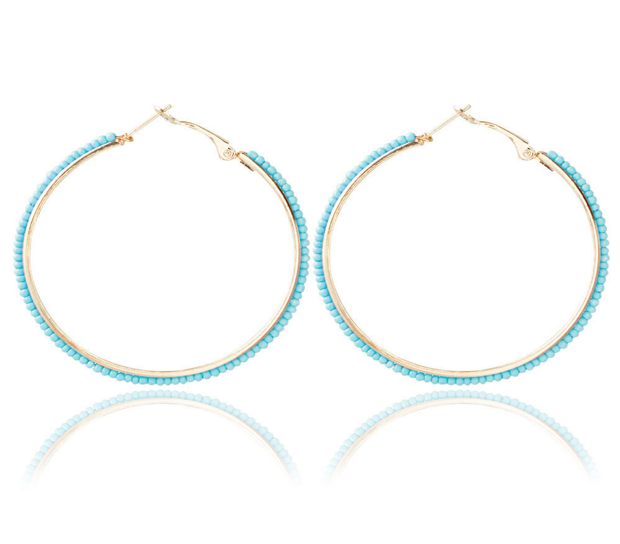 616 Turquoise Beaded Hoop Earrings