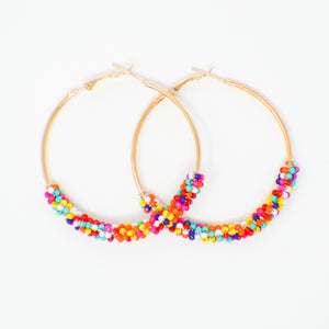 606 Confetti Beaded Hoop Earrings