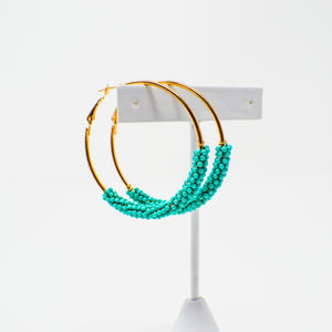 608 Turquoise Cluster Beaded Hoop Earrings