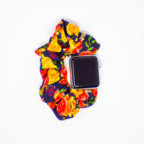 #7 Navy Roses Scrunchie Apple Watch Band