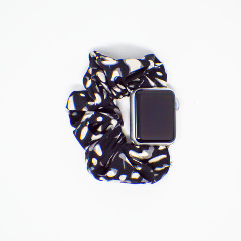 #3 Black Spots Scrunchie Apple Watch Band