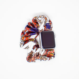 #5 Navy Paisley Scrunchie Apple Watch Band