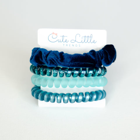204 Teal Scrunchie & Hair Tie Set