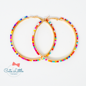 605 Rainbow Confetti Beaded Hoop Earrings