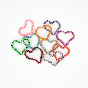 020 Skinny Hearts Hair Ties, Bulk Set of 10