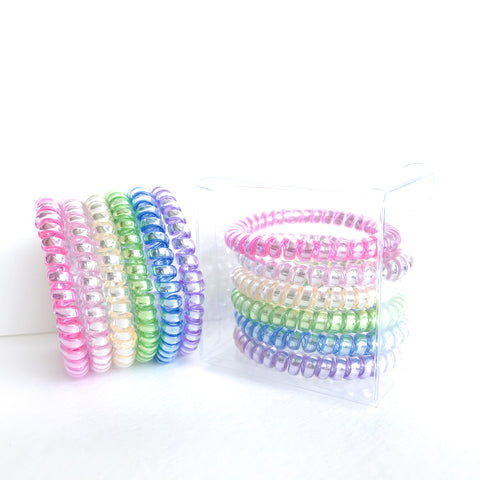 126 Rainbow Unicorn Skinny Hair Ties - Set of 6
