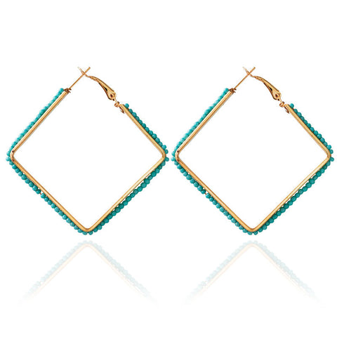 603 Turquoise Beaded Square Earrings