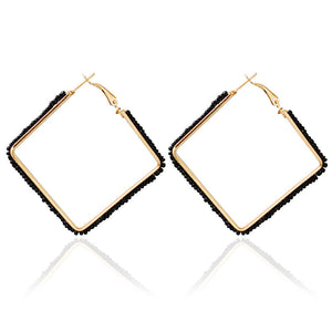 602 Black Beaded Square Earrings