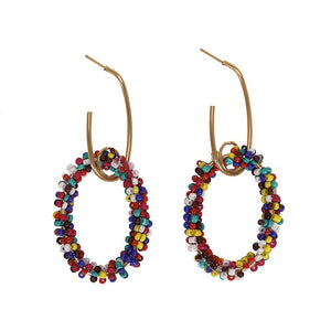 620 Multi Beaded Oval Earrings