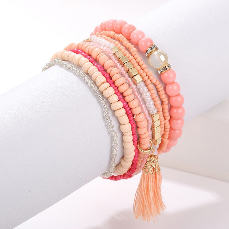 611 Coral Beaded Bracelets, set of 9