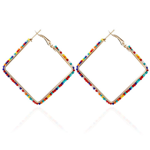 600 Confetti Beaded Square Earrings