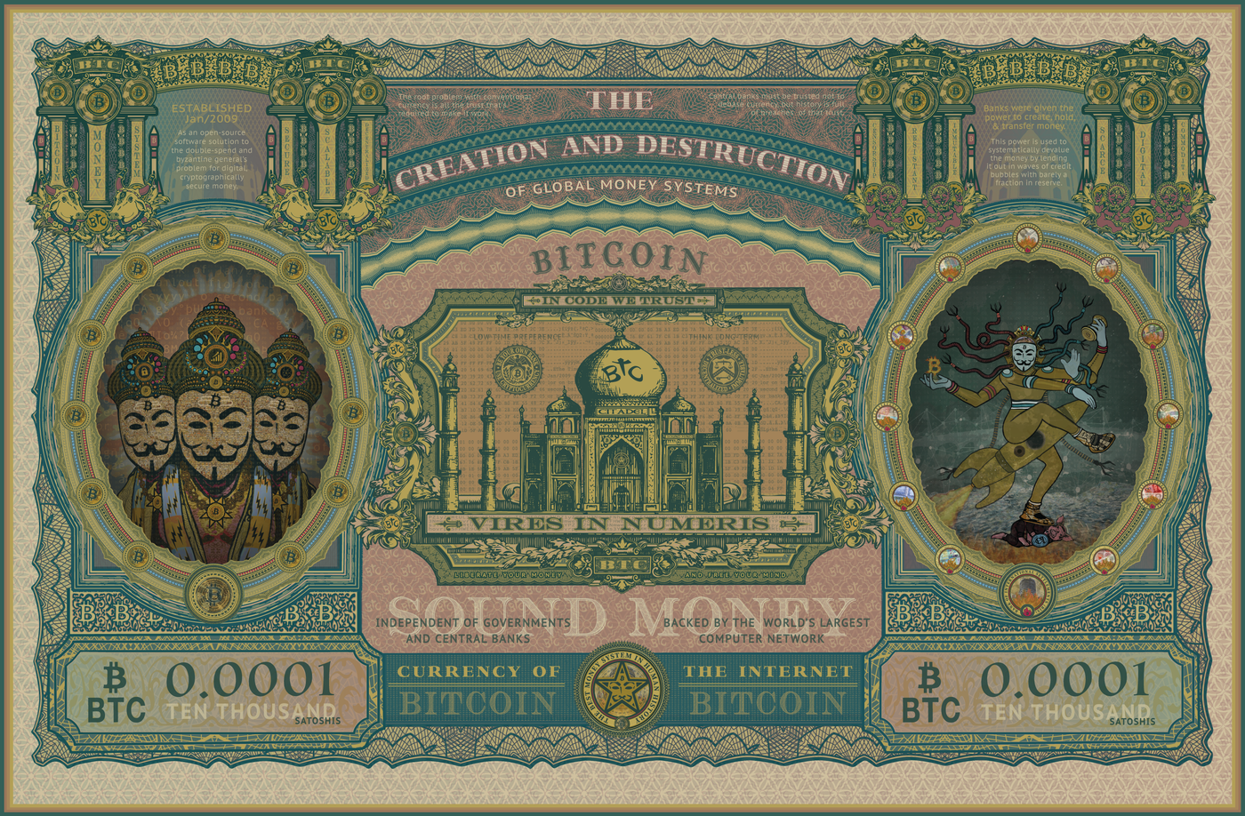 The Creation and Destruction of Global Money Systems (Bitcoin Art by Lucho Poletti)