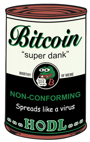 Super Dank bitcoin soup can by Lucho Poletti