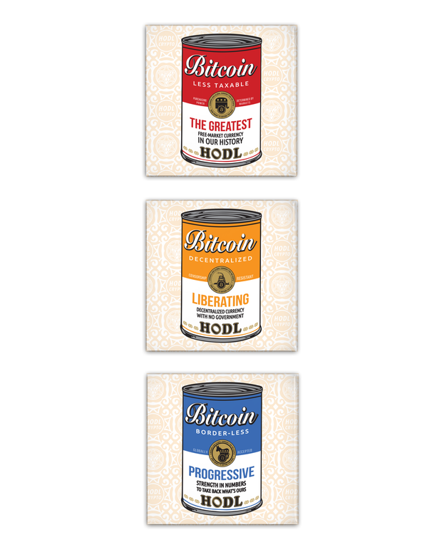 Bitcoin for any Party #1-3 Metal Pins [Set of 3] - HODL CRYPTO ART