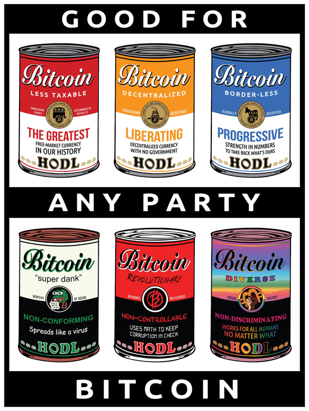 Bitcoin for Any Party Poster
