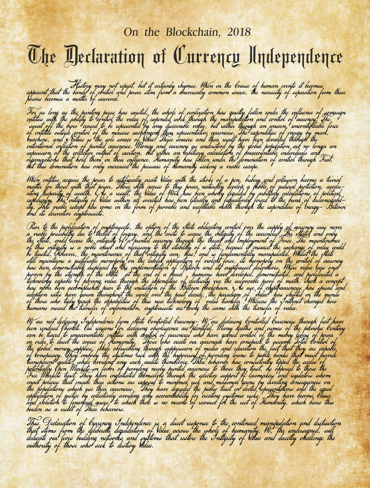 Declaration of Currency Independence [Canvas]